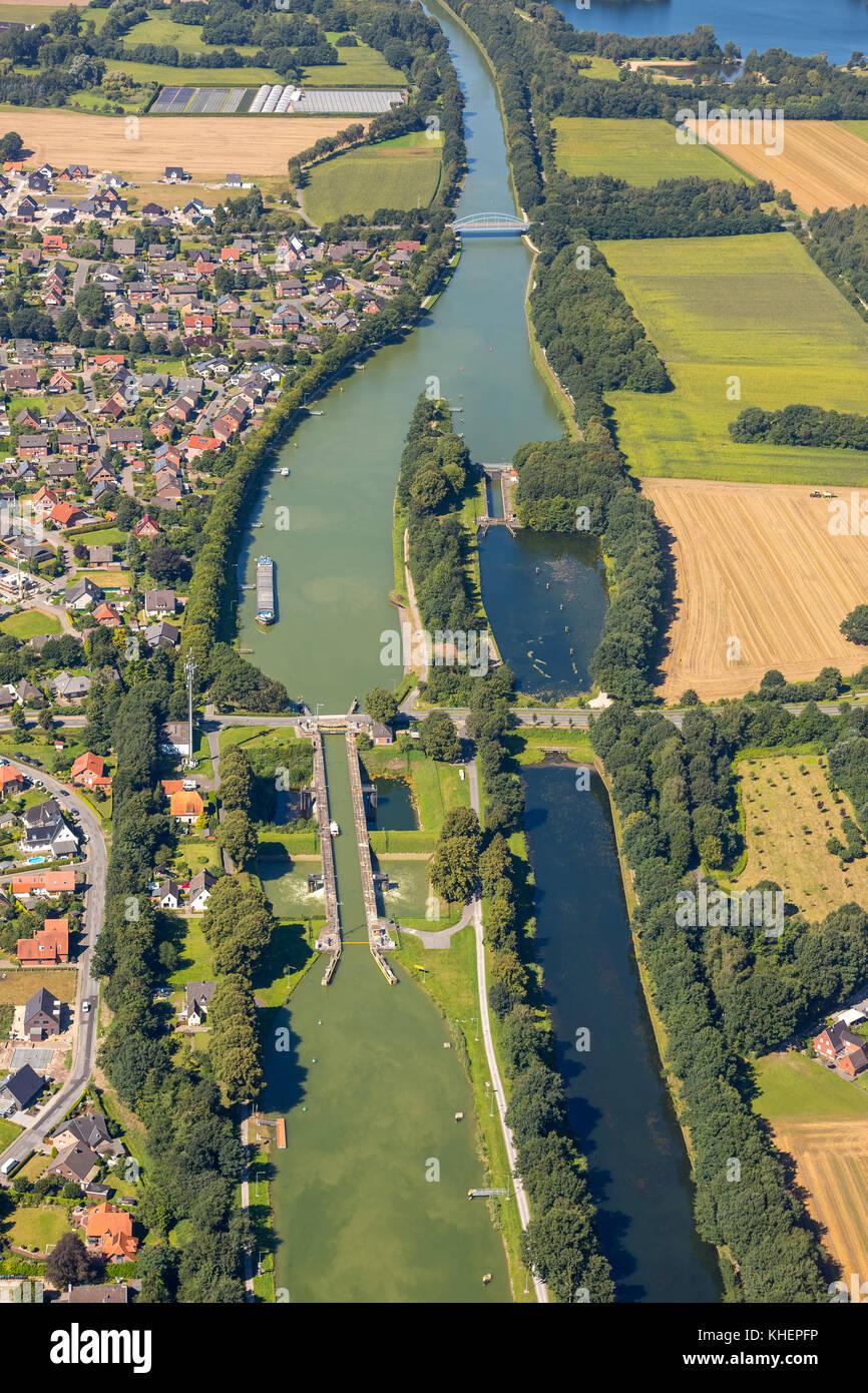 Lock at Dortmund-Ems Canal, Ibbenbüren, North Rhine-Westphalia, Germany - Stock Image