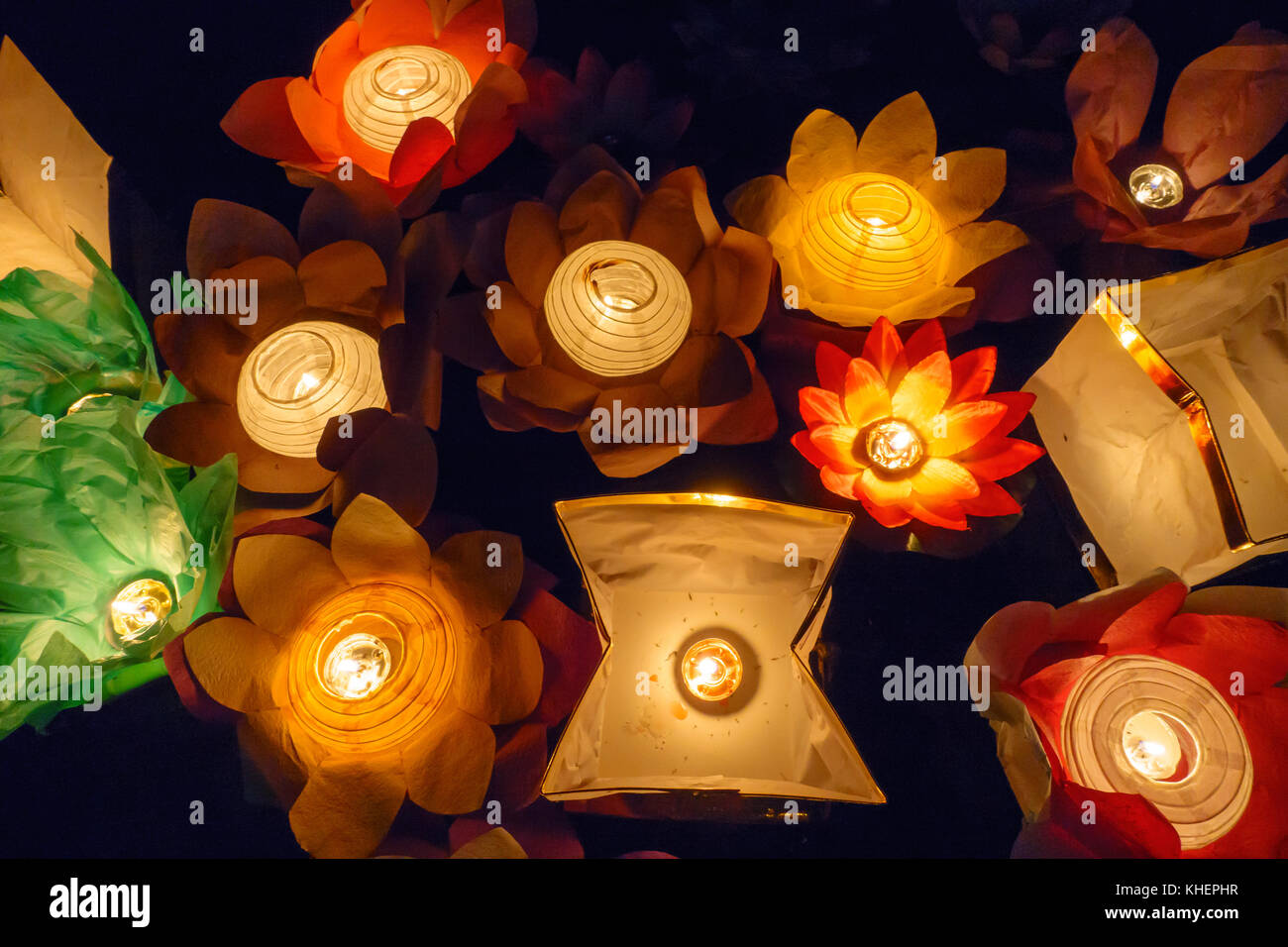 Floating Lotus Flower Paper Lanterns On Water Stock Photo 165667539