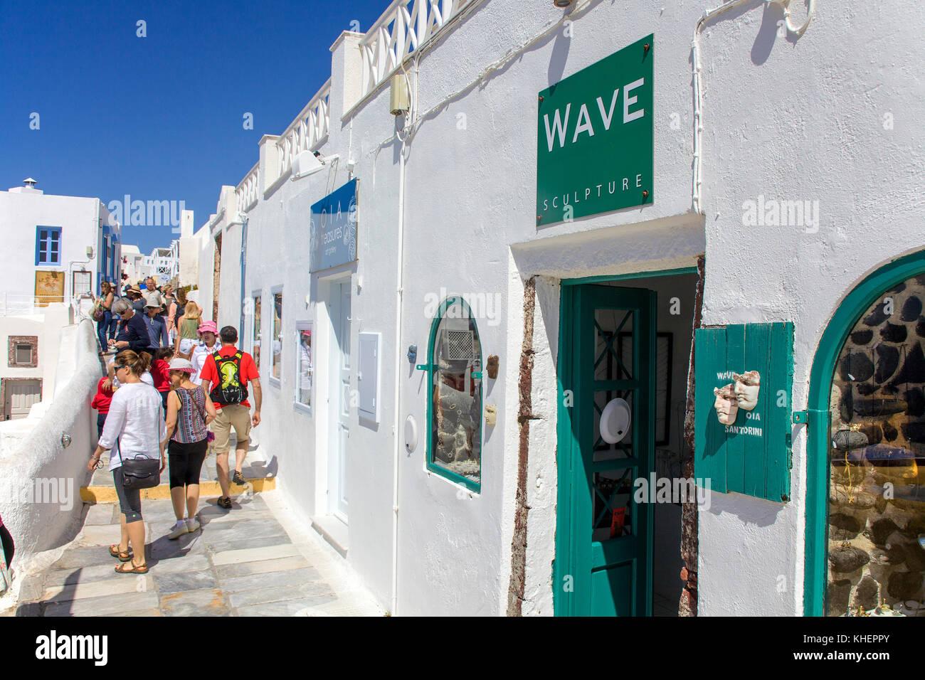 Souvenir shops at along the crater edge path, Oia, Santorin island, Cyclades, Aegean, Greece - Stock Image