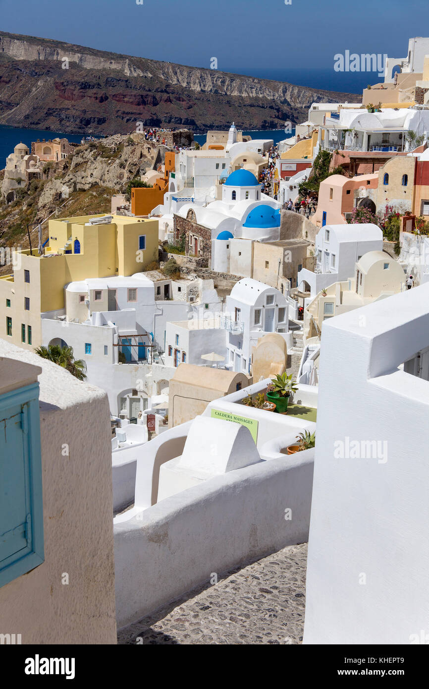 View on the famous view point at the ruins of Argyri, Oia, Santorin island, Cyclades, Aegean, Greece Stock Photo
