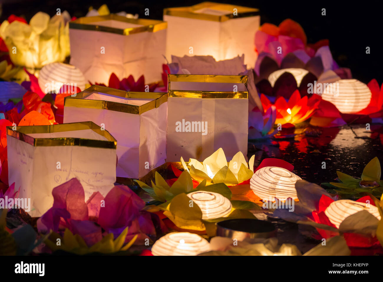Floating Lotus Flower Paper Lanterns On Water Stock Photo 165667818