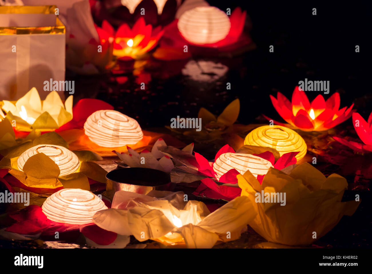 Floating Lotus Flower Paper Lanterns On Water Stock Photo 165667826