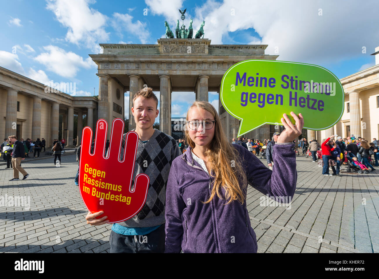 Two students with shield My vote against hate, against racism in the Bundestag, Anti AFD-Demo, Brandenburg Gate, - Stock Image