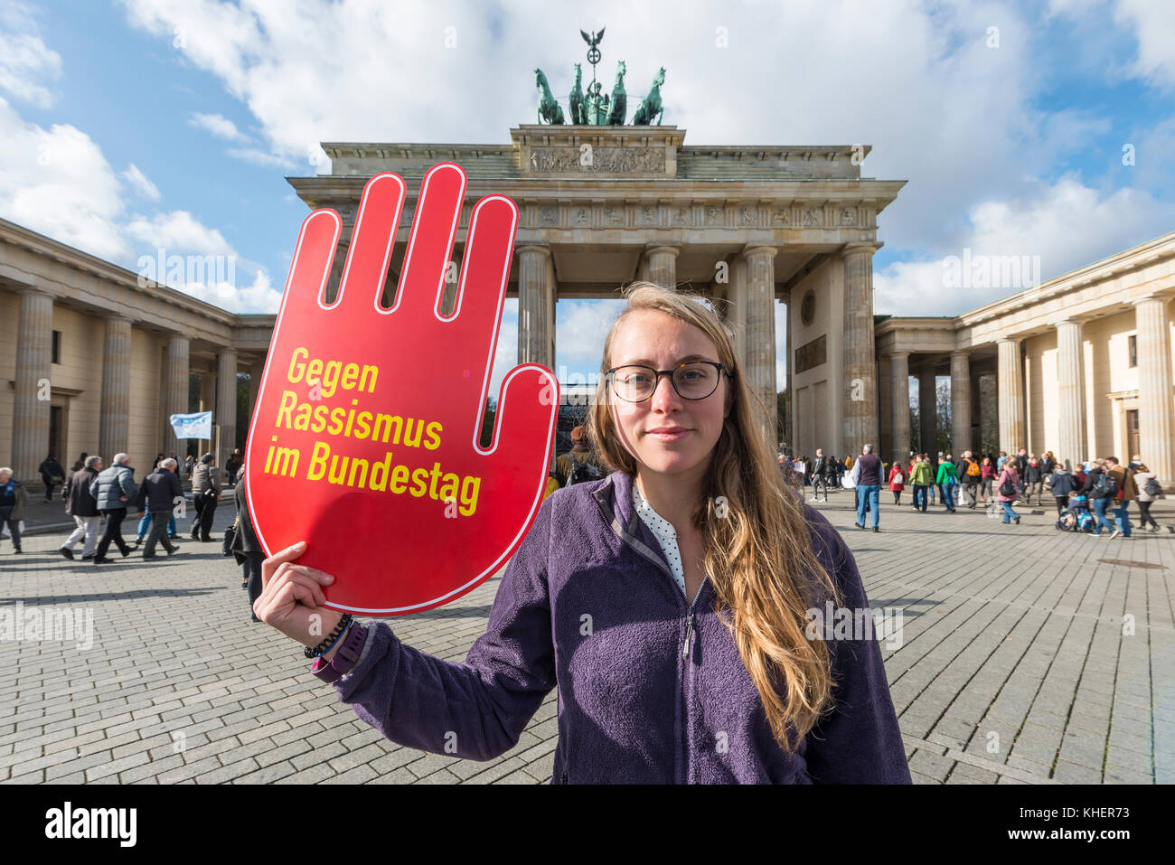 Student with shield against racism in the Bundestag, Anti AFD-Demo, Brandenburg Gate, Berlin, Germany - Stock Image