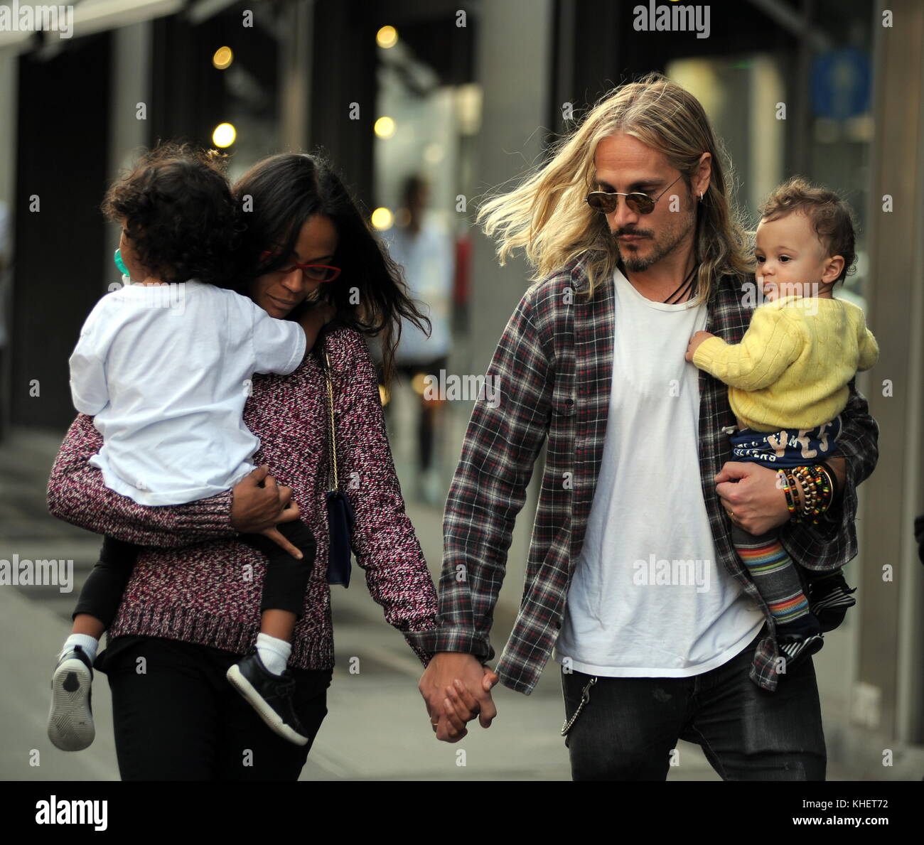 Zoe Saldana With Her Husband Marco Perego And Their Children