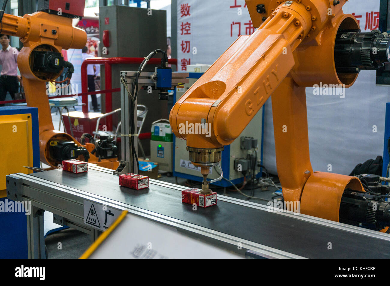 Robot food and beverage production robots at China hi-tech fair in Shenzhen, known as 'Silicon Valley of China', - Stock Image