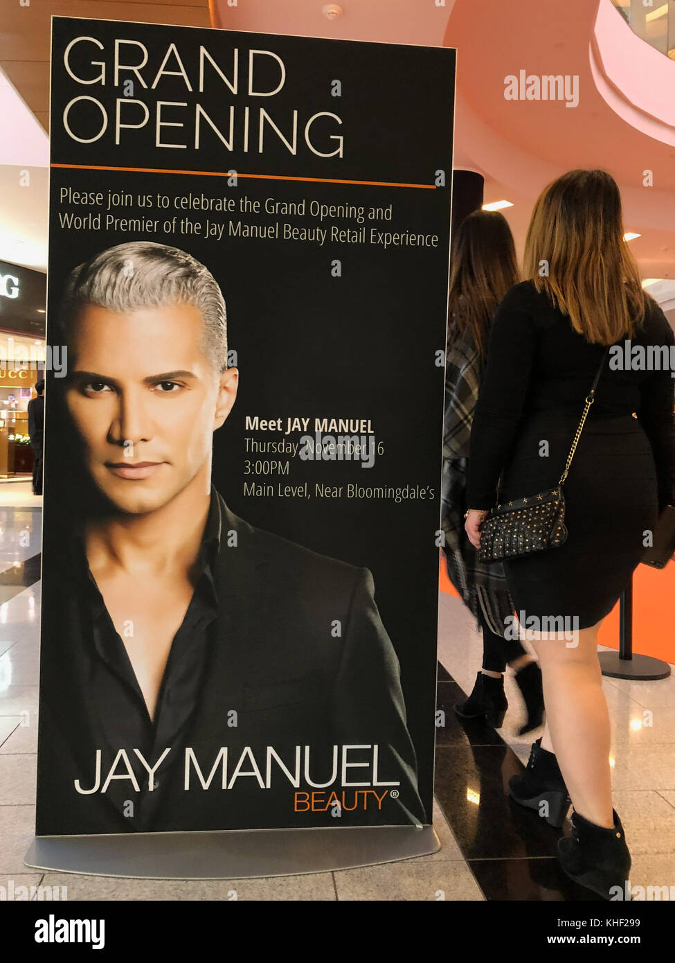 Garden City, New York, USA. 16th Nov, 2017. Women shoppers walk by large sign announces that Jay Manuel, makeup - Stock Image