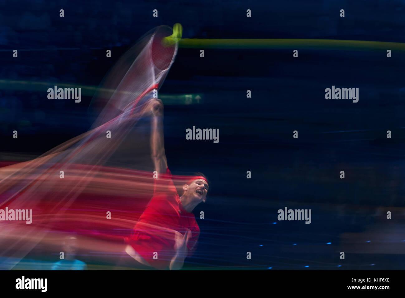 London, UK. 17th Nov, 2017. ATP Tennis, London, November 17, 2017 Dominic THIEM, AUT pulled blurs long time exposure Stock Photo