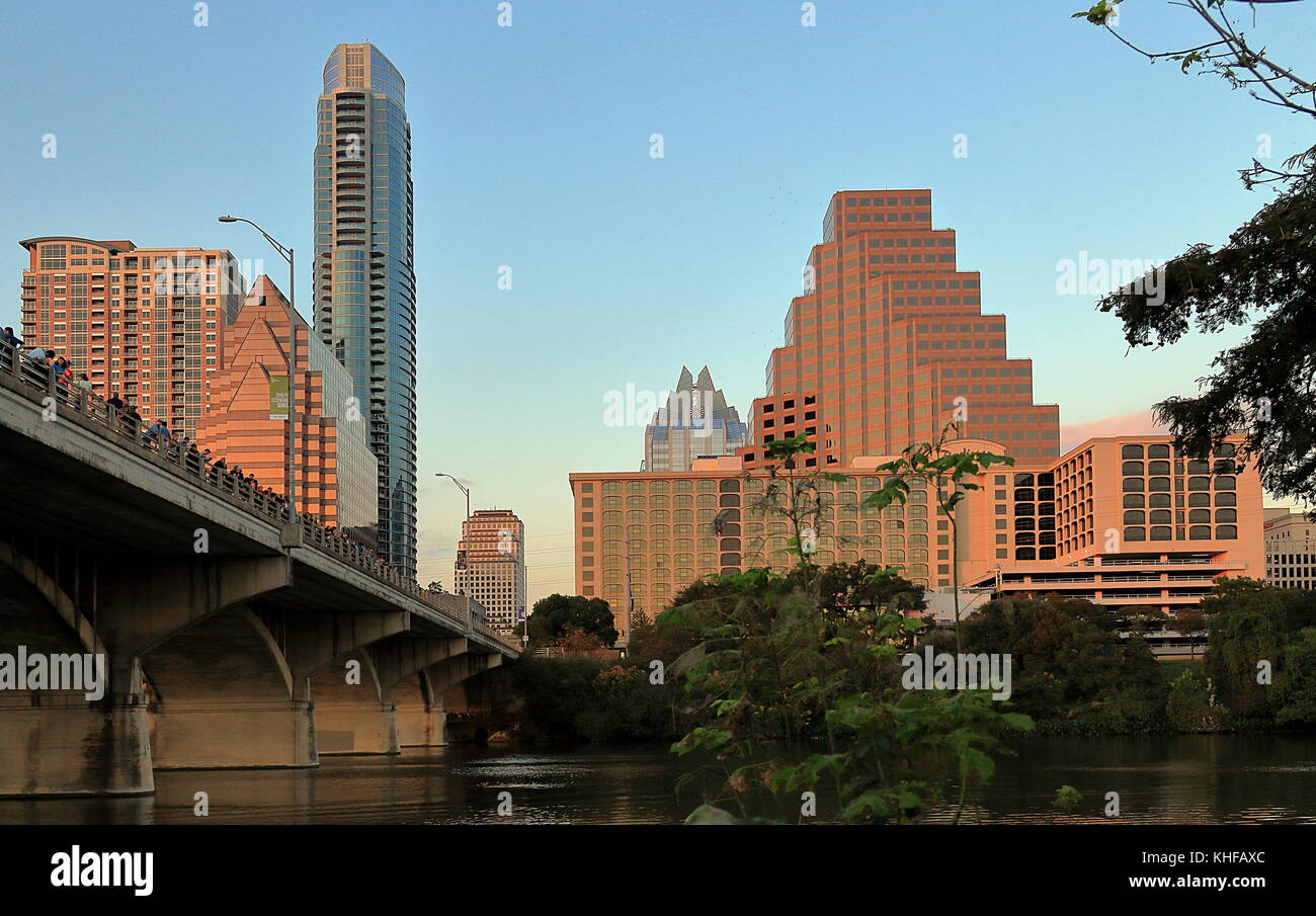 Austin Texas. Downtown Skyline and Congress Avenue Bridge - Stock Image