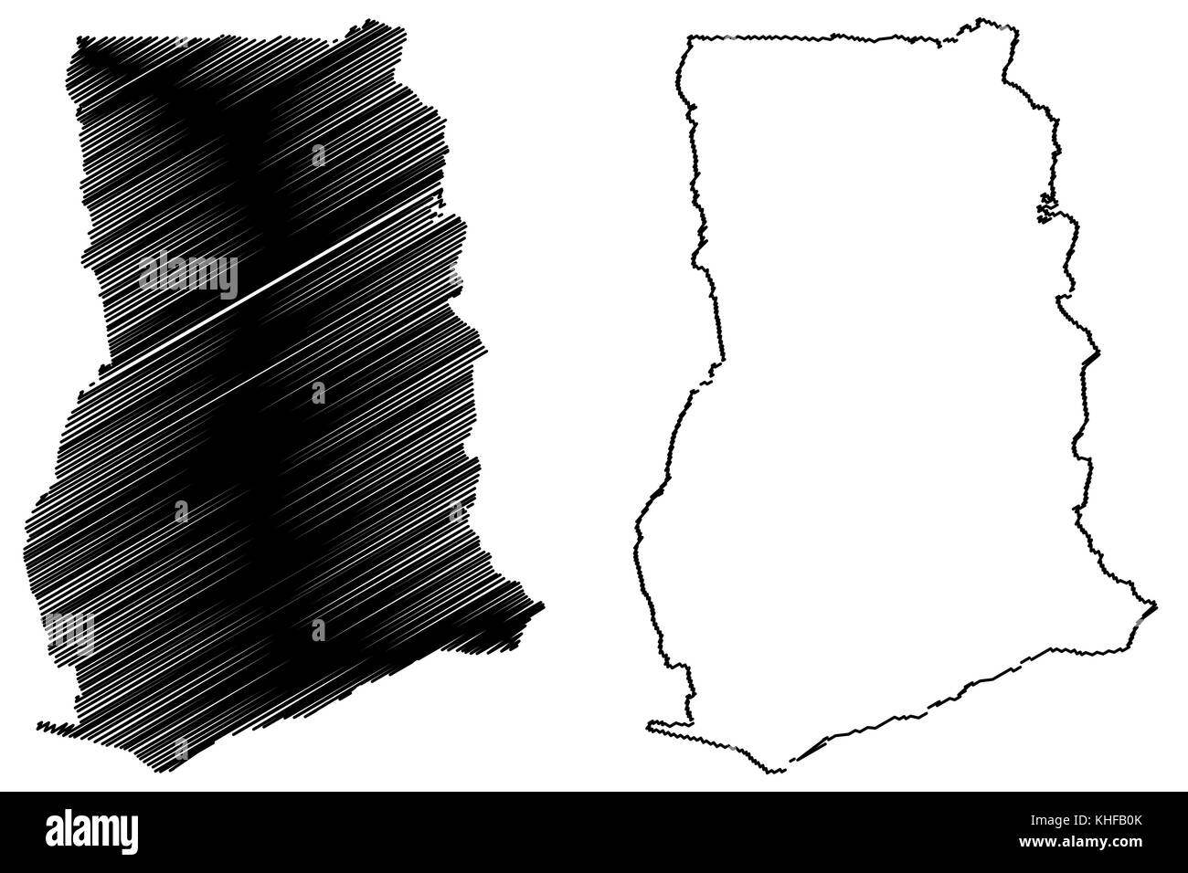 Ghana map vector illustration, scribble sketch Republic of Ghana - Stock Image