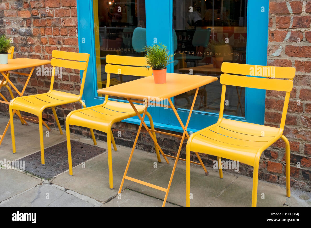 empty tables and chairs outside restaurant england uk united kingdom