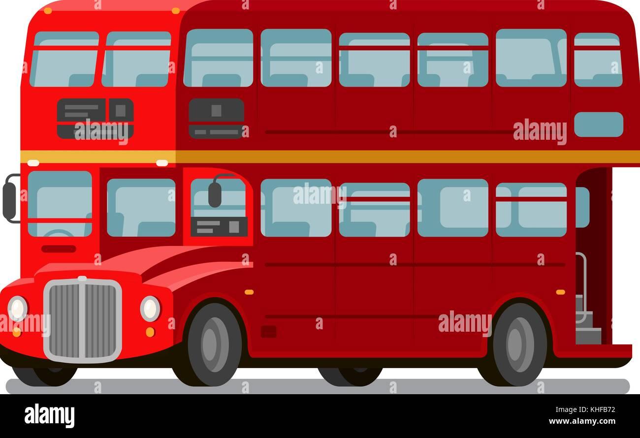 London double-decker red bus. England symbol. Vector flat illustration - Stock Image