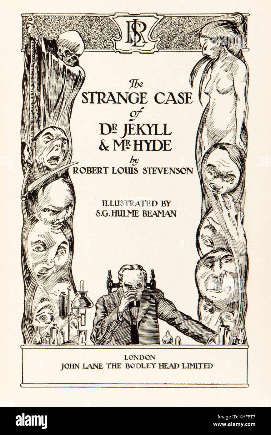 Title page from the 'Strange Case of Dr Jekyll and Mr Hyde' by Robert Louis Stevenson (1850-1894). Illustration - Stock Image