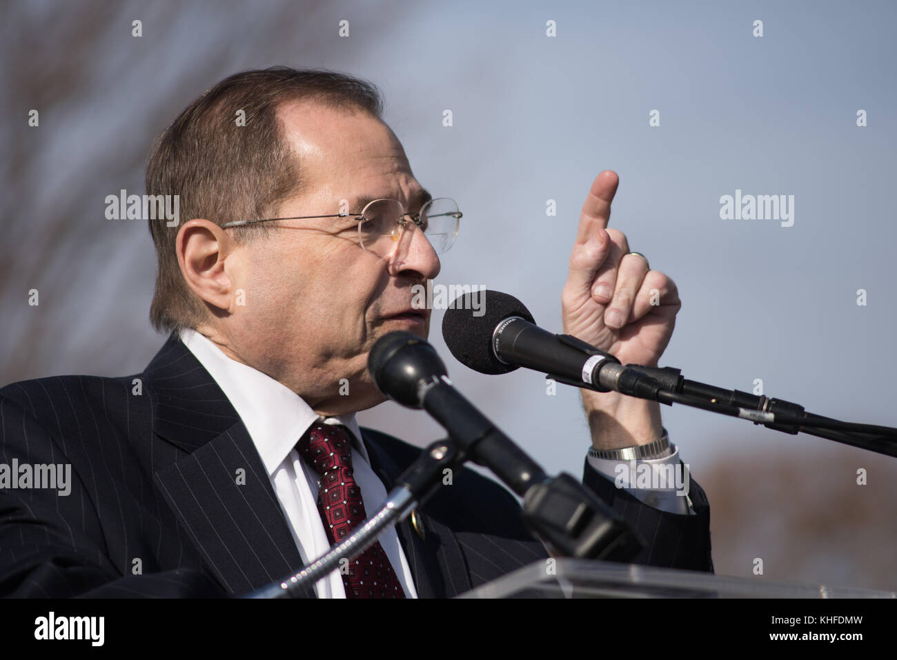 Rep. Jerry Nadler, (D-NY) speaks against GOP tax bill on Capitol Hill. Stock Photo