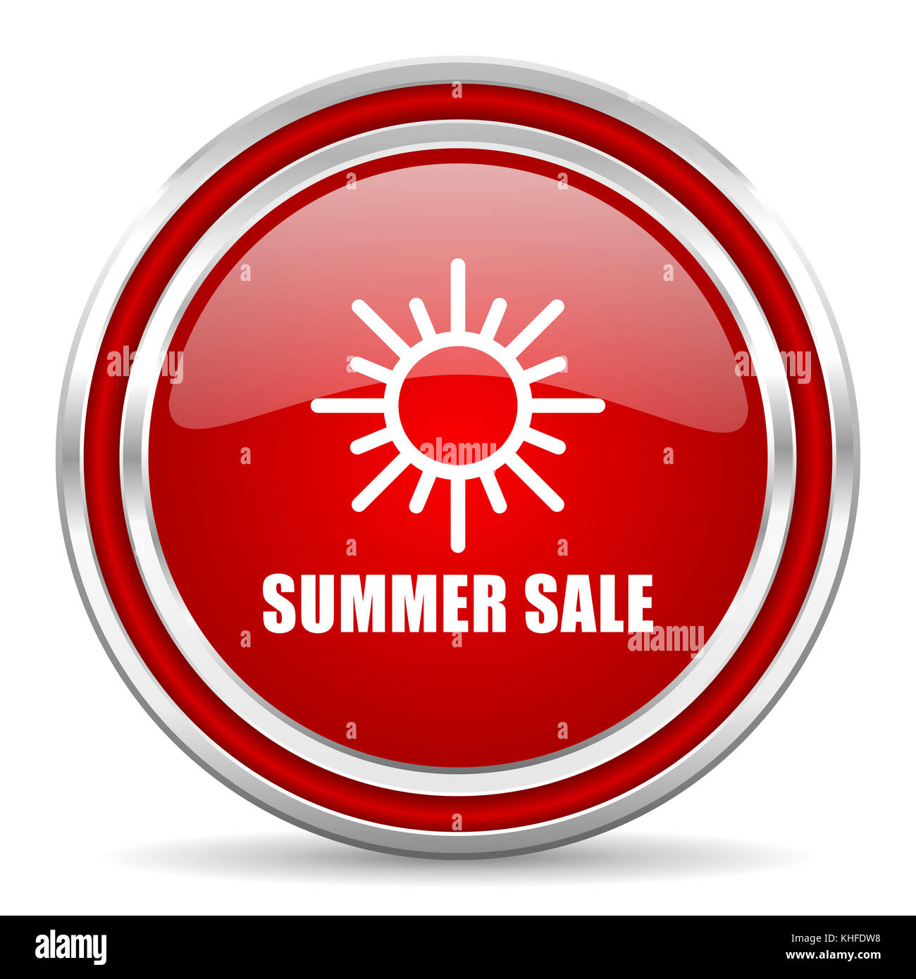 Summer sale red silver metallic chrome border web and mobile phone icon on white background with shadow - Stock Image