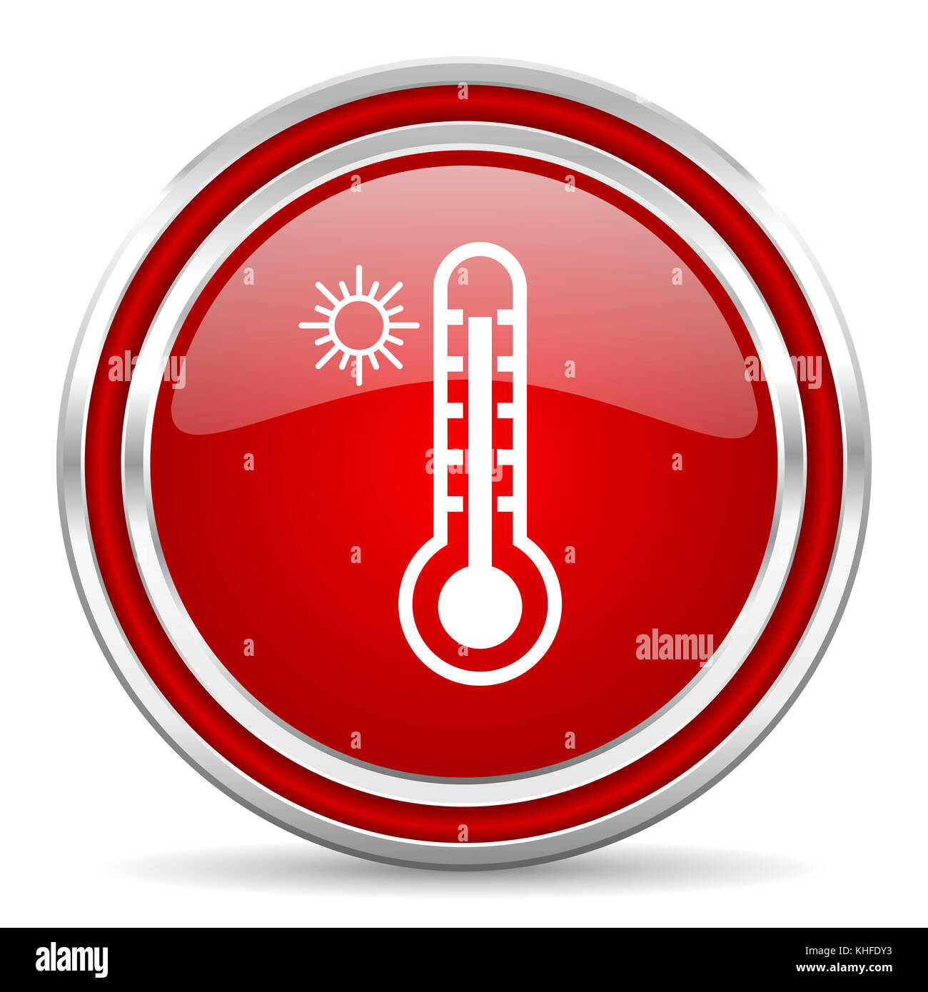 Hot temperature red silver metallic chrome border web and mobile phone icon on white background with shadow - Stock Image