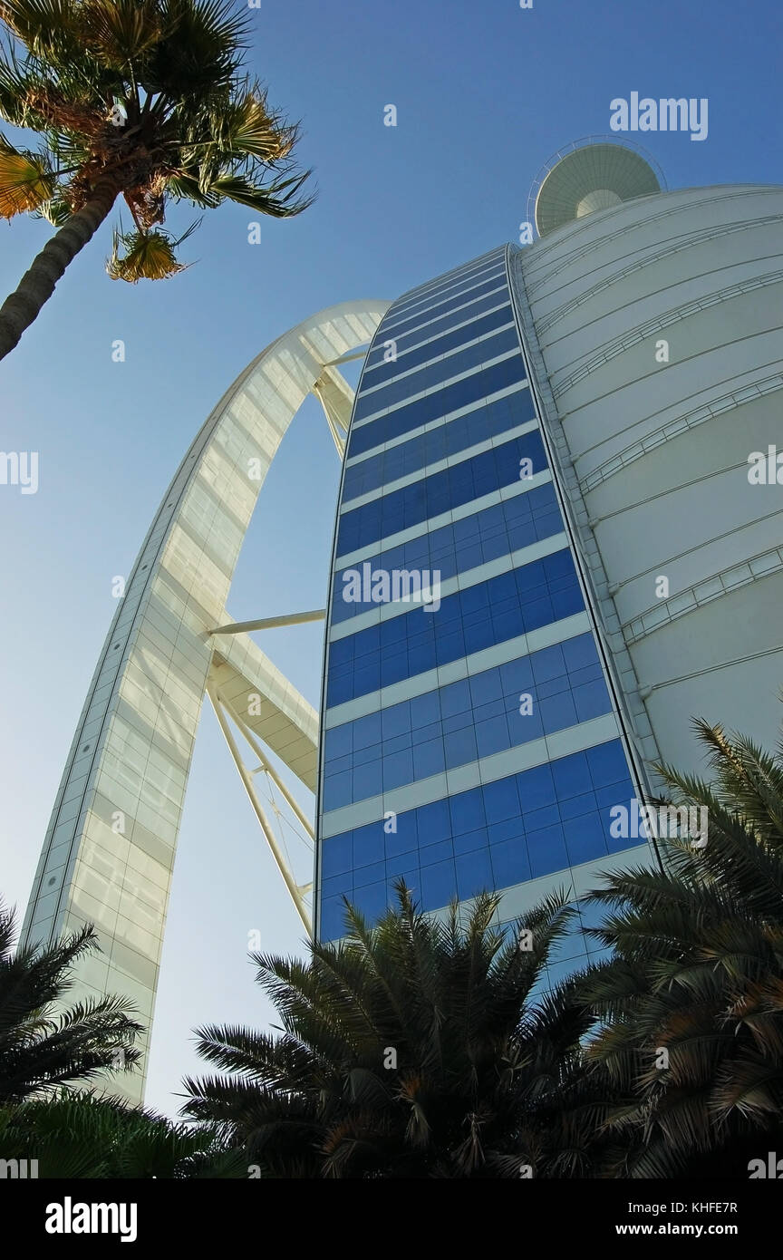 Exterior Trusses and Screen Wall of the Burj al Arab Hotel in Dubai, UAE - Stock Image