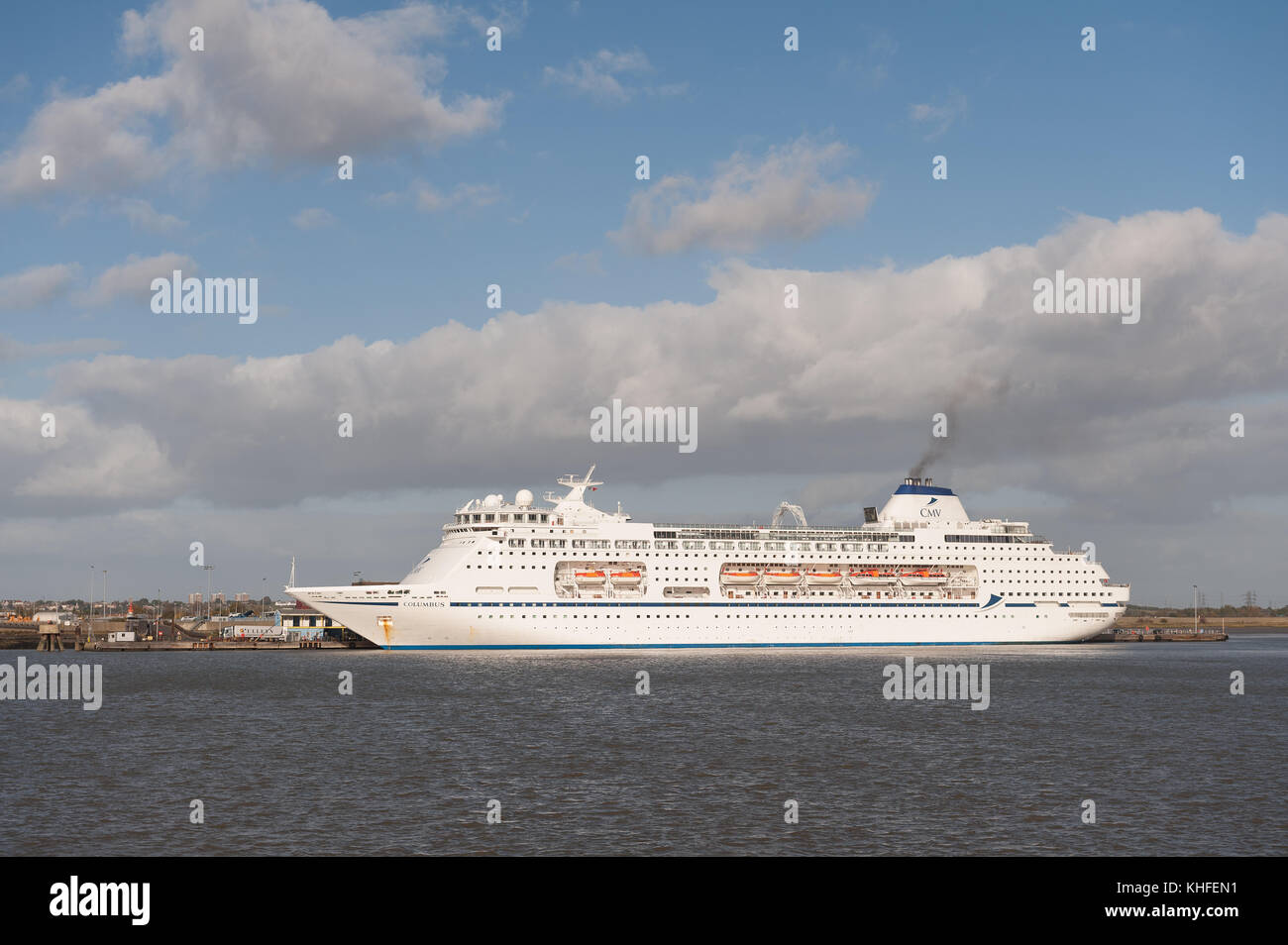 63,786-ton cruise liner MV Columbus on bright windy day at Tilbury Docks Stock Photo