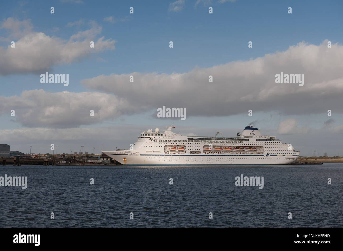 63,786-ton cruise liner MV Columbus on bright windy day at Tilbury Docks Stock Photo