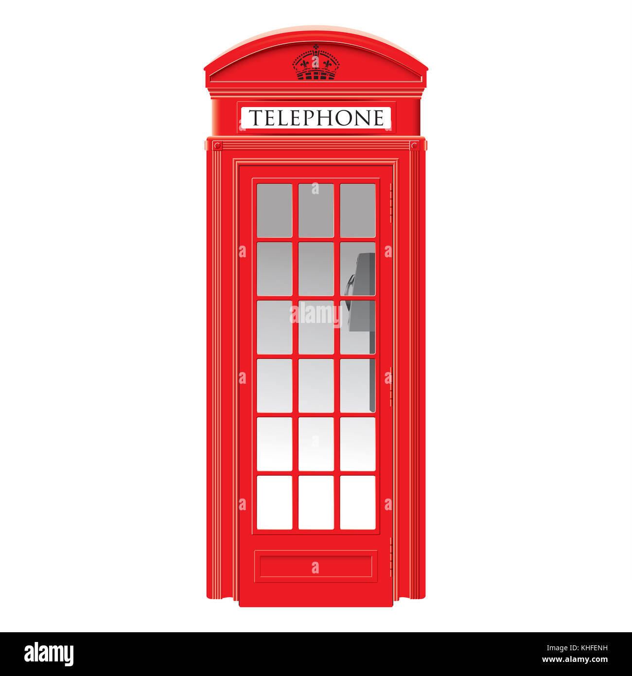 Red telephone box - London -  very detailed isolated illustration - Stock Image