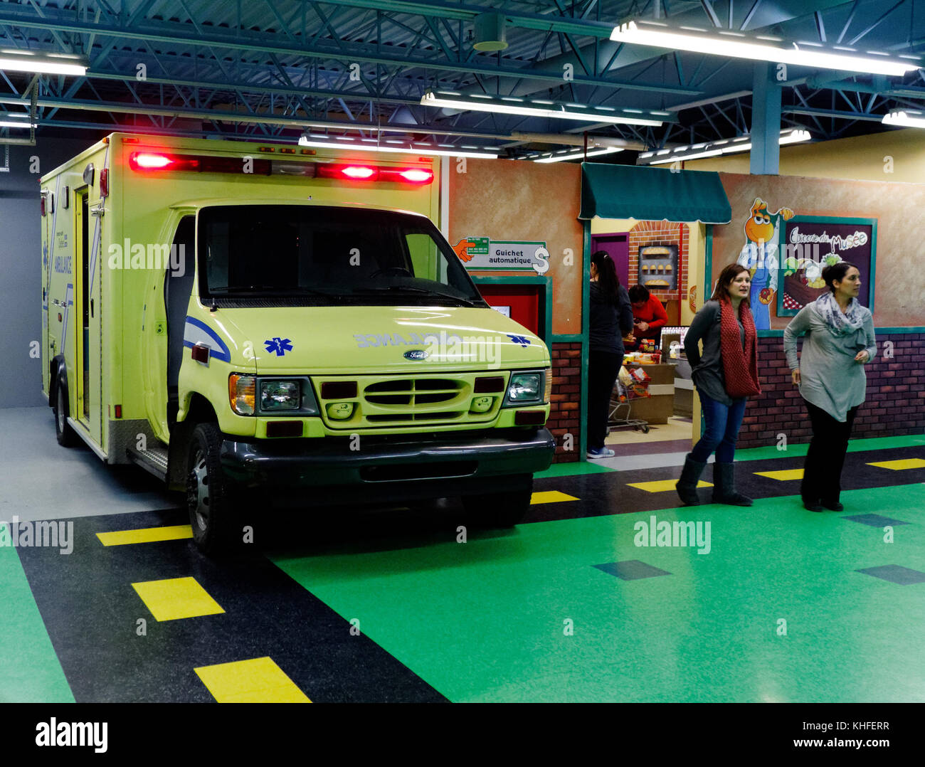 Anambulance in the Musee D'Enfance indoor themed play cenrtre in Laval, Quebec - Stock Image