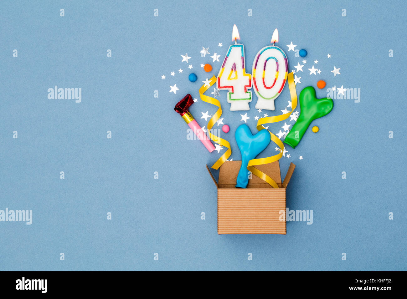 Number 40 Celebration Present Background Gift Box Exploding With Party Decorations