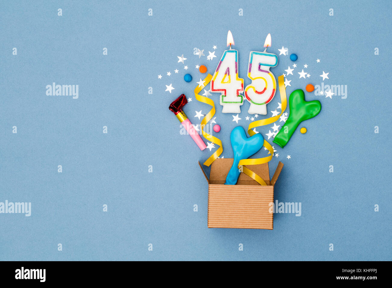 Number 45 Celebration Present Background Gift Box Exploding With Party Decorations