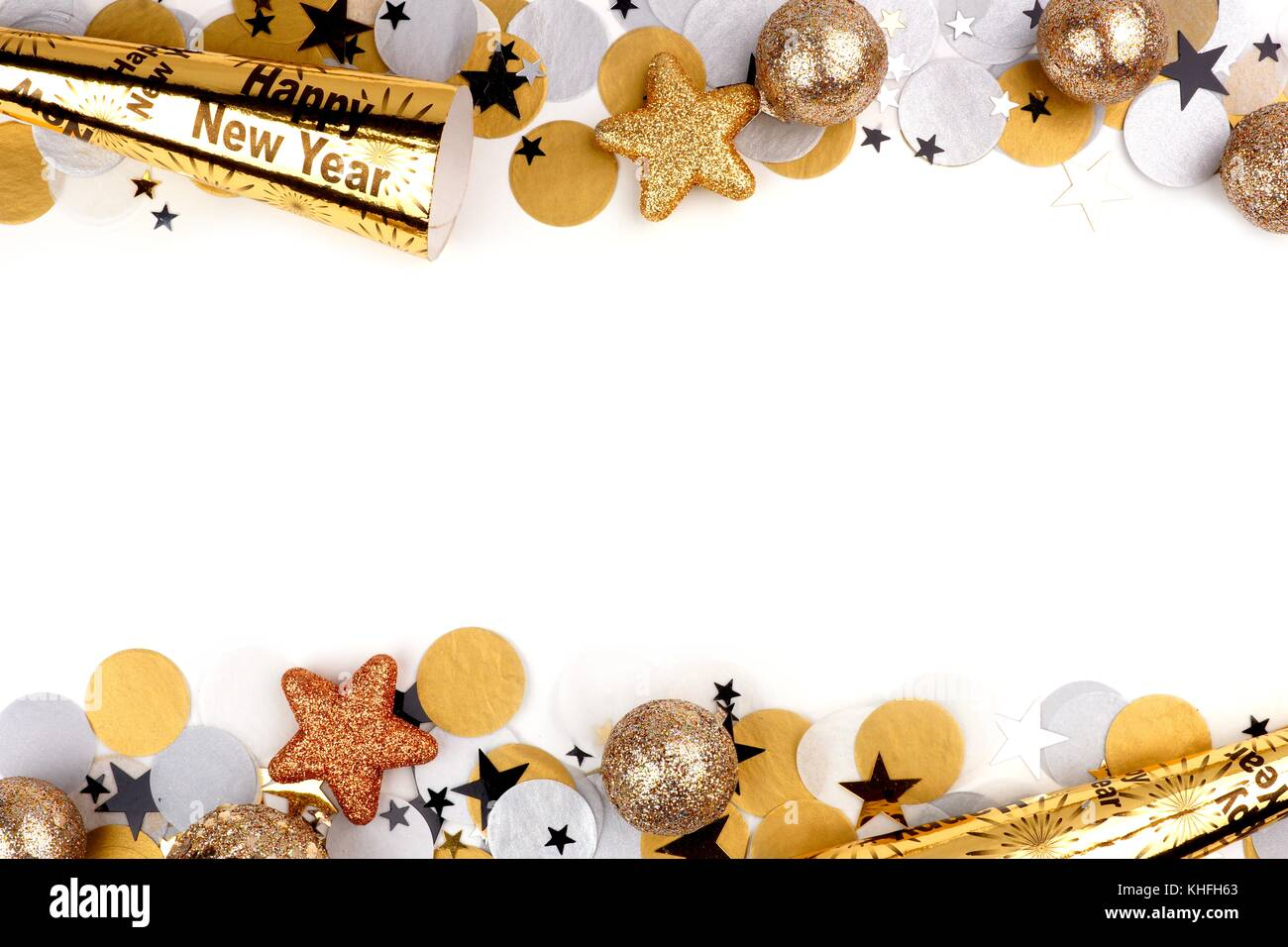 New Years Eve double border of confetti and decor isolated on a white background - Stock Image