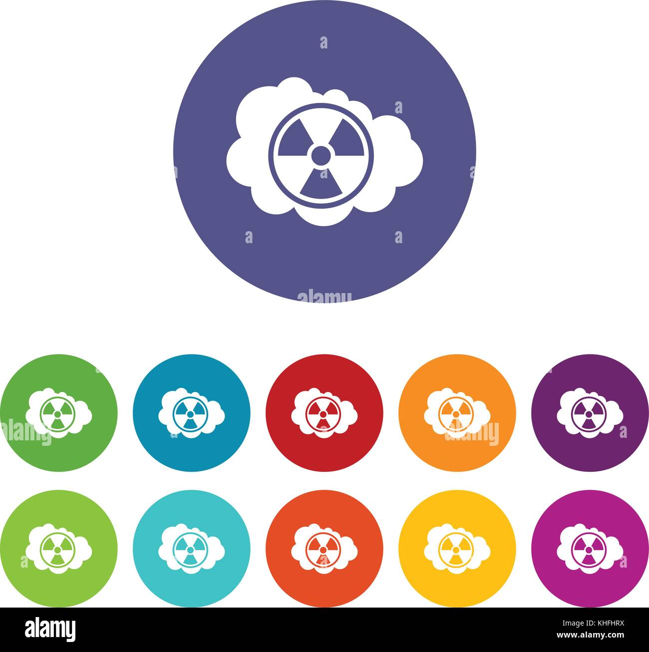 Cloud and radioactive sign set icons in different colors isolated on white background Stock Vector
