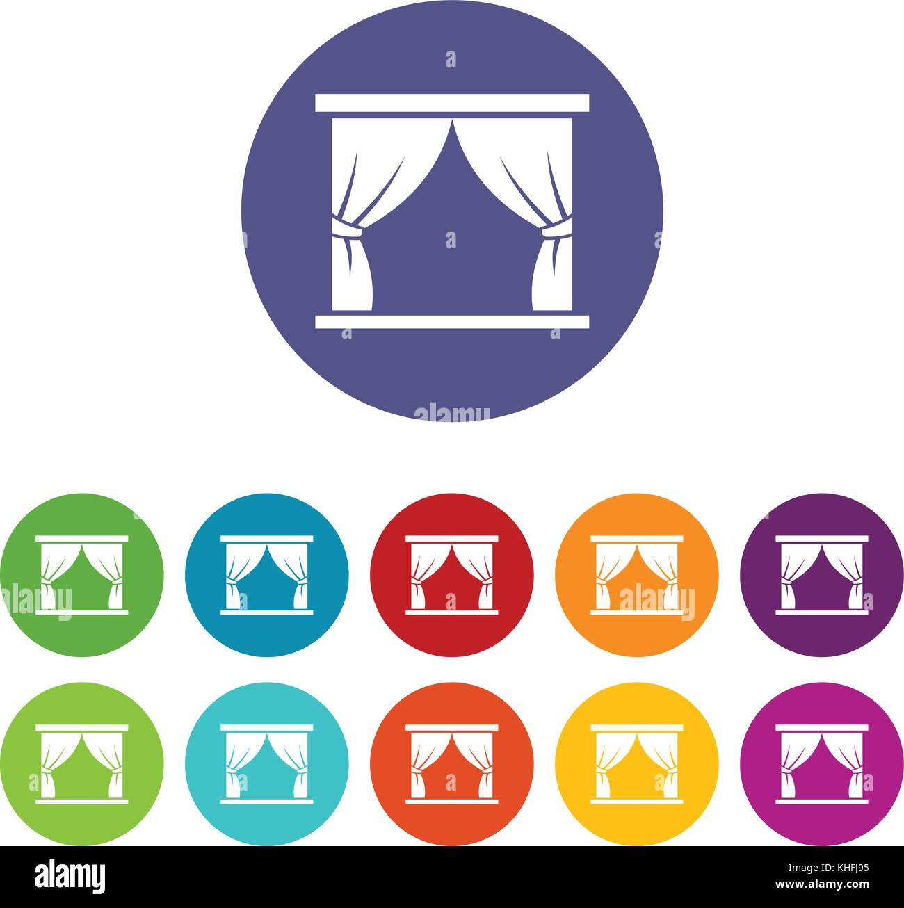 Curtain on stage set icons in different colors isolated on white background - Stock Vector