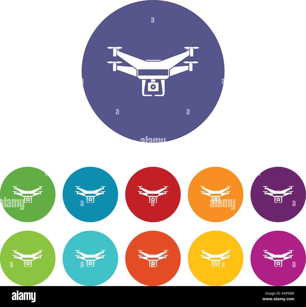 Drone Video Camera Set Icons