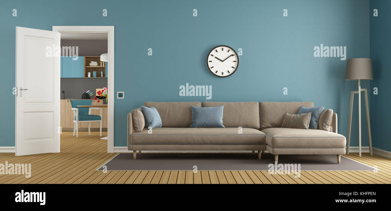 Blue and brown living room with open door and modern kitchen on ...
