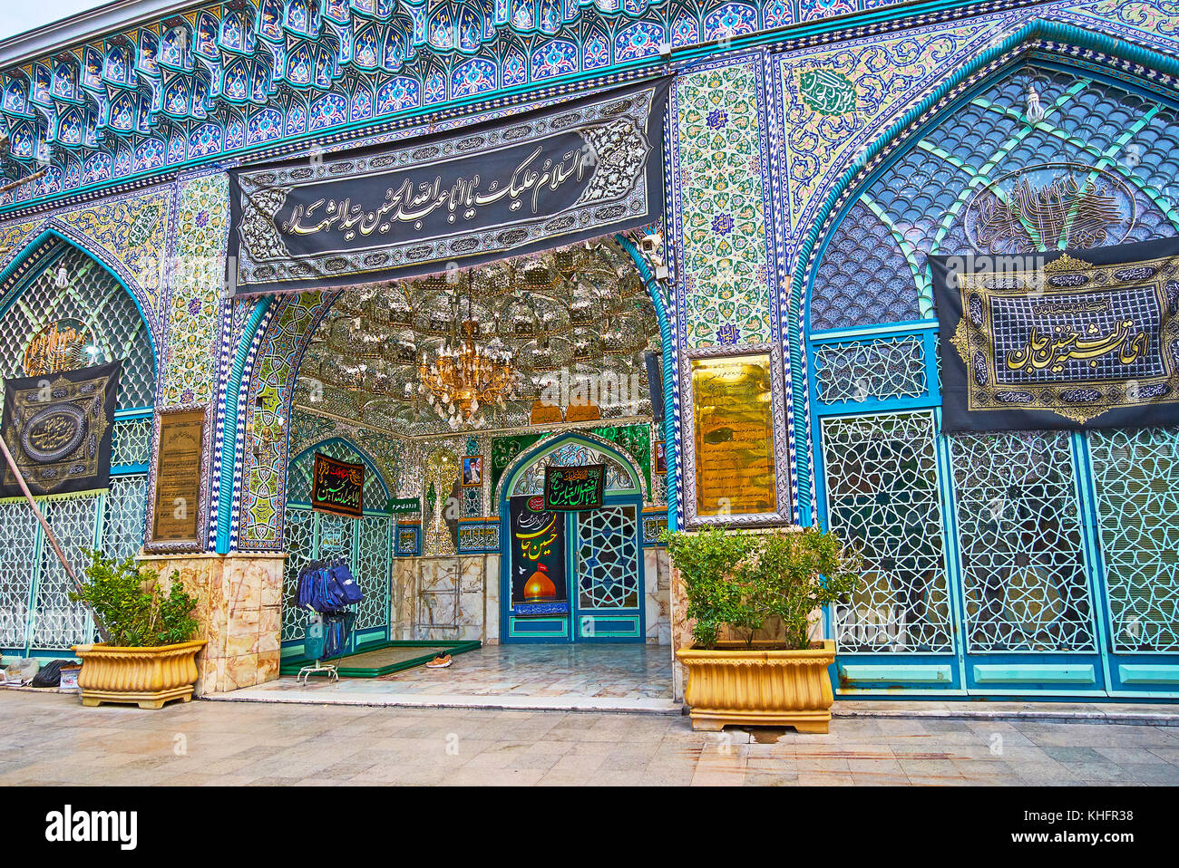 TEHRAN, IRAN - OCTOBER 11, 2017: Emamzadeh Zeyd Holy Shrine is fine example of traditional Persian art and architecture - Stock Image