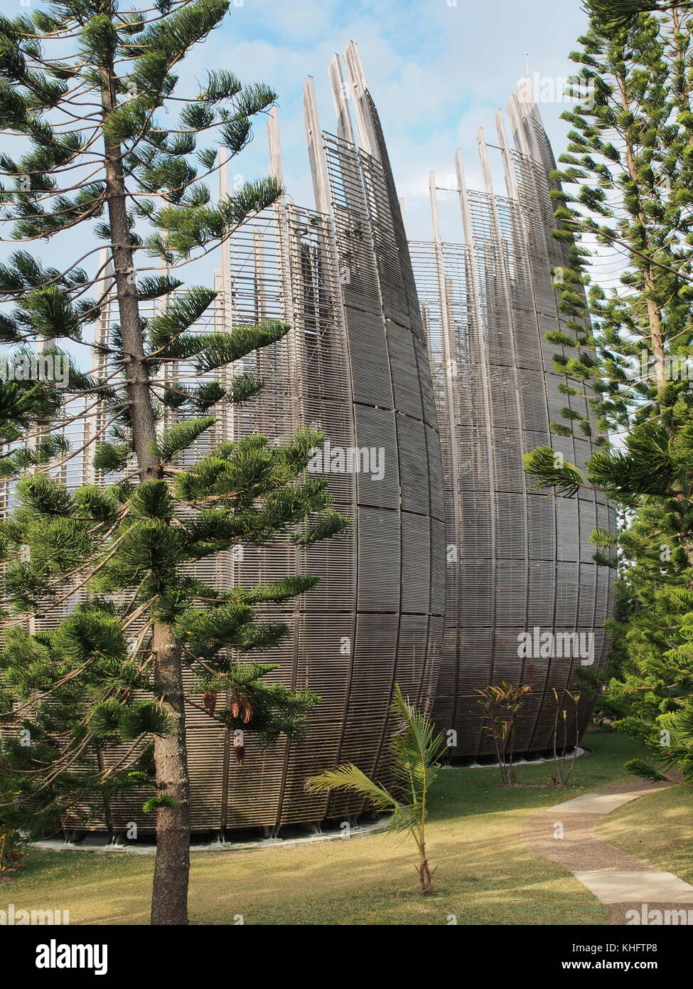 Modern buildings of the Tjibaou Cultural Centre in Noumea, New Caledonia - Stock Image