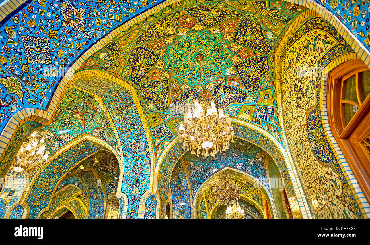 TEHRAN, IRAN - OCTOBER 11, 2017: The stellar pattern of the dome in Shah's Mosque, perfectly decorated in Persian - Stock Image