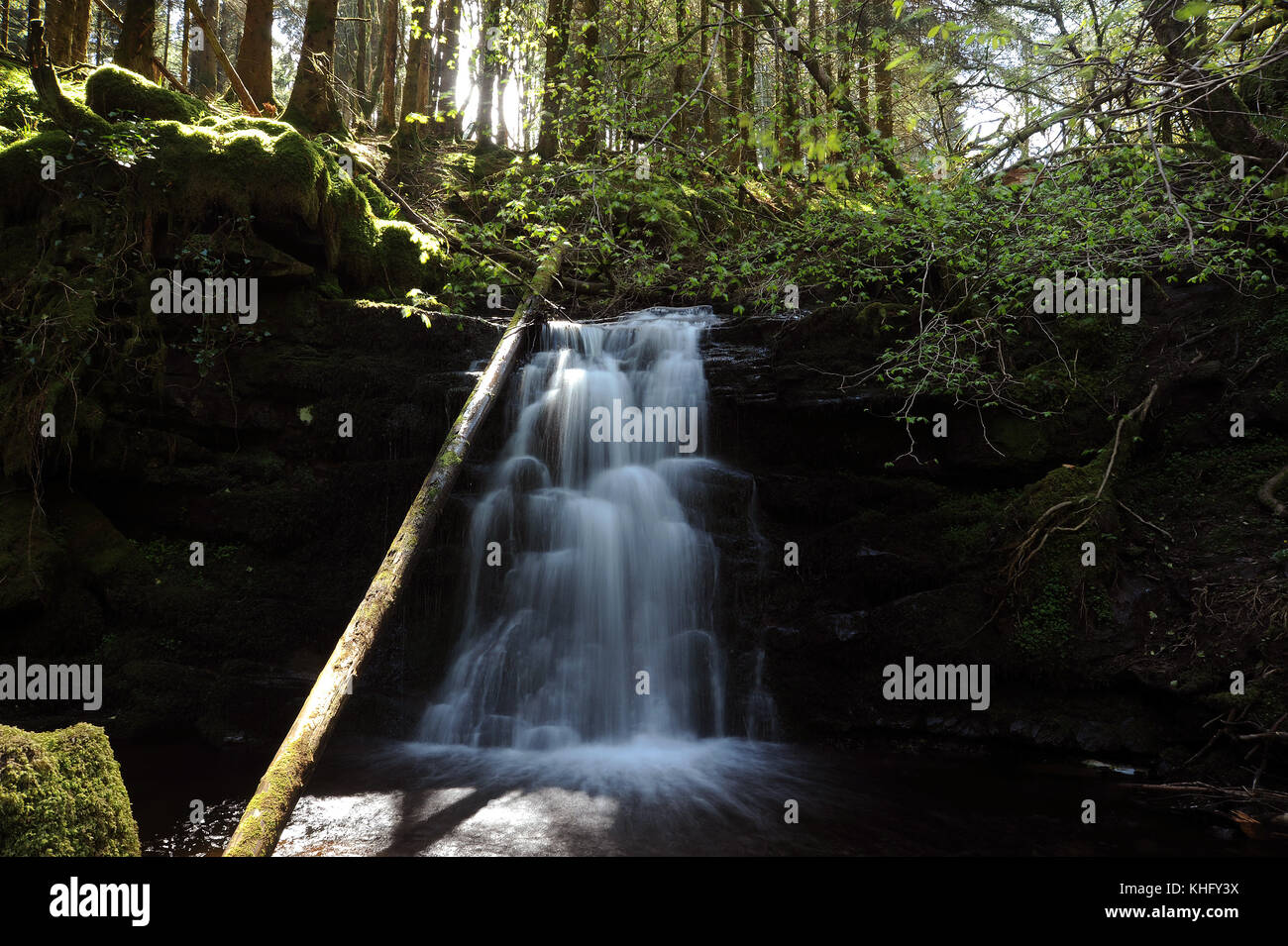 The middle one of three small waterfalls on the Nant Bwrefwr between the cascade and the main fall. - Stock Image