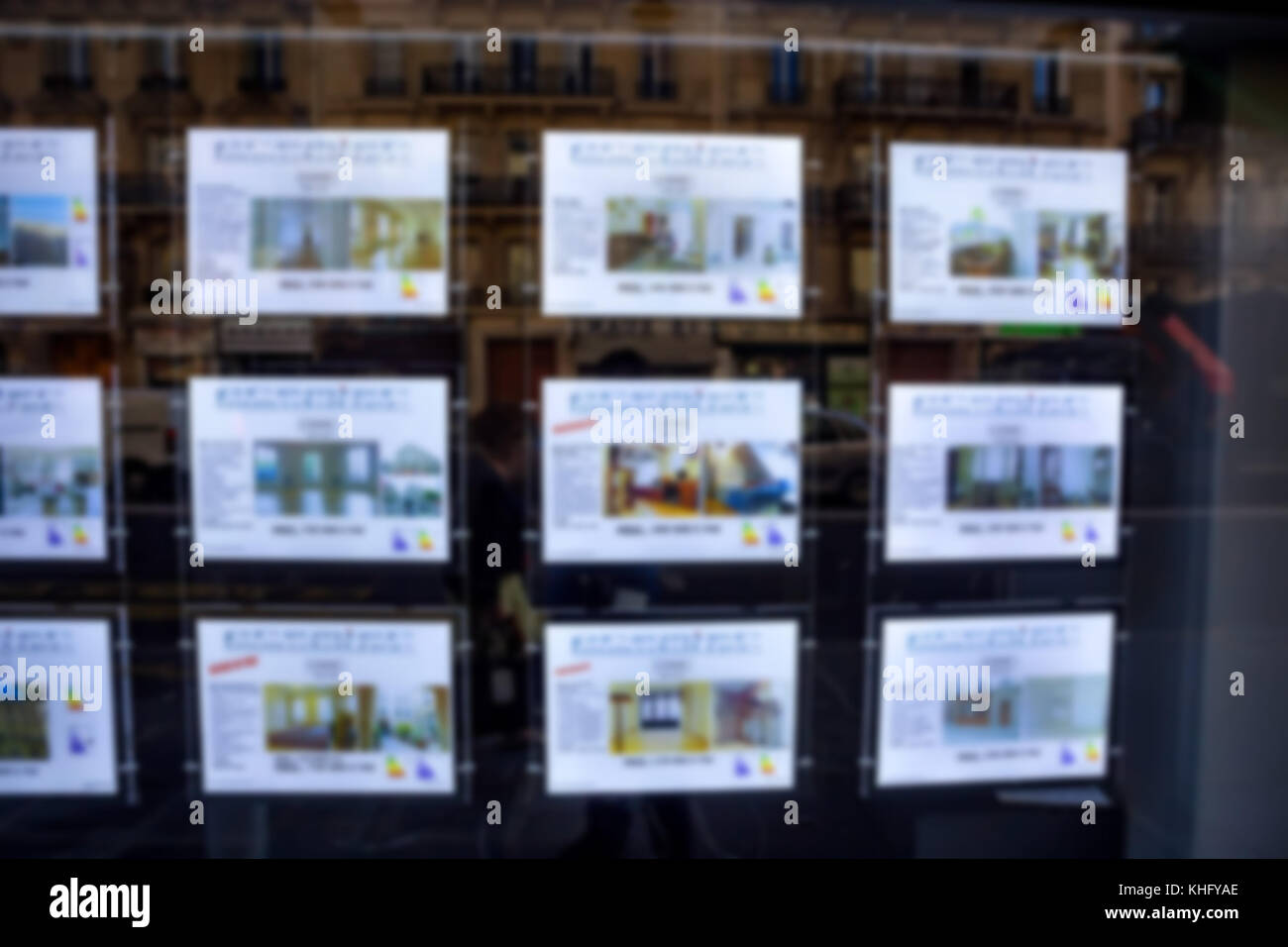 Blurred real estate ads on wall in street - Stock Image