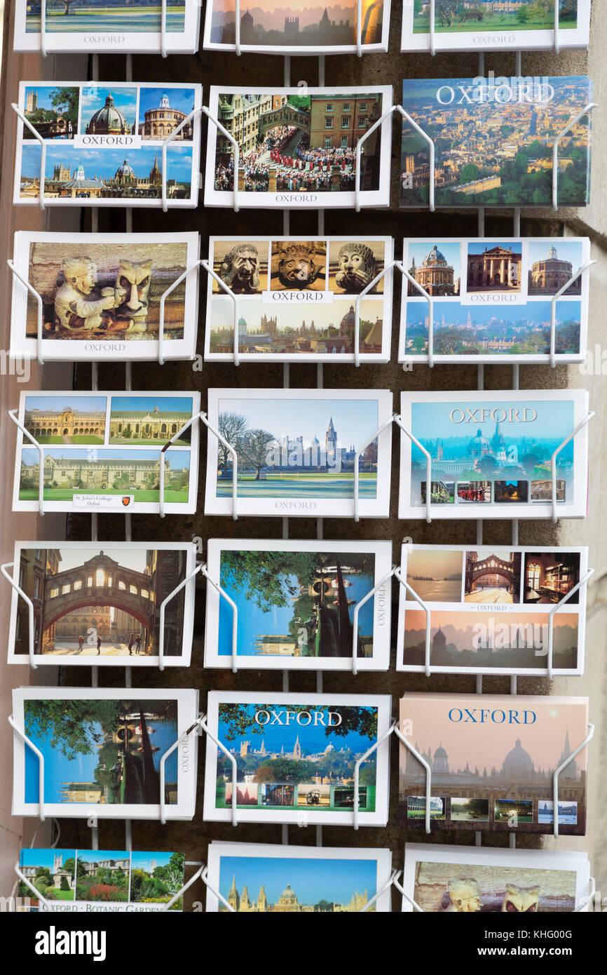 UK, Oxford, tourist postcards for sale. - Stock Image