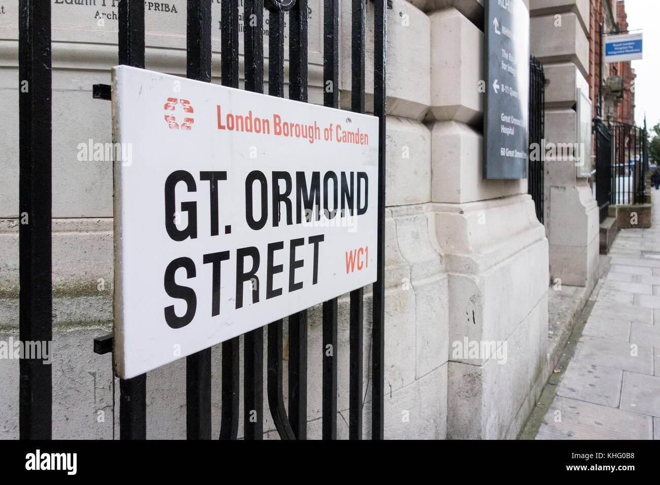 Great Ormond Street, London Borough of Camden, WC1 street sign outside the world famous Great Ormond Street Hospital, - Stock Image