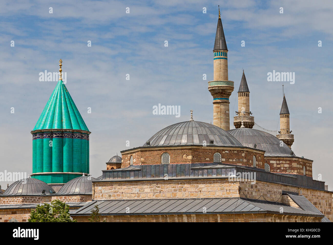 View over the green dome of the Mausoleum of Mevlana in Konya, Turkey. - Stock Image