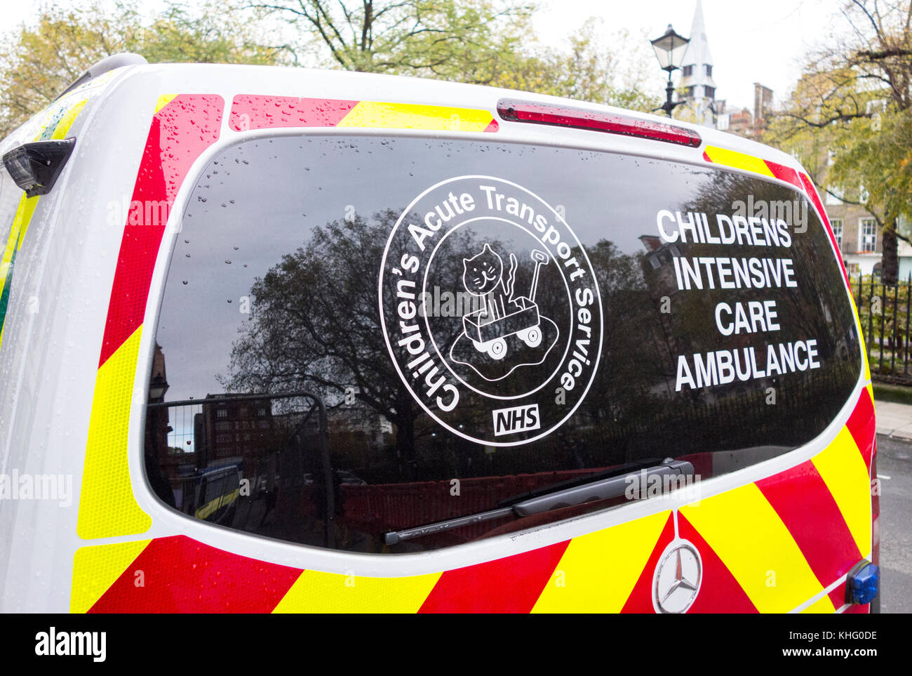 Childrens Intensive Care ambulance parked near the world famous Great Ormond Street Hospital, London, UK - Stock Image