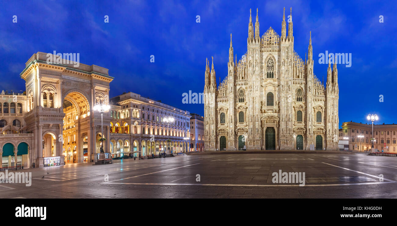 Panorama of night Piazza del Duomo in Milan, Italy - Stock Image