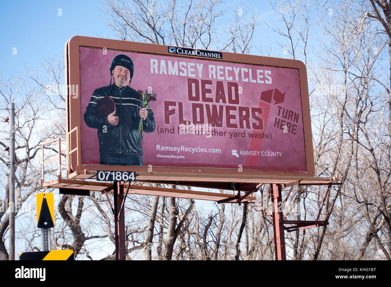Billboard advertising that Ramsey County recycles dead flowers and other yard waste at this site. St Paul Minnesota - Stock Image