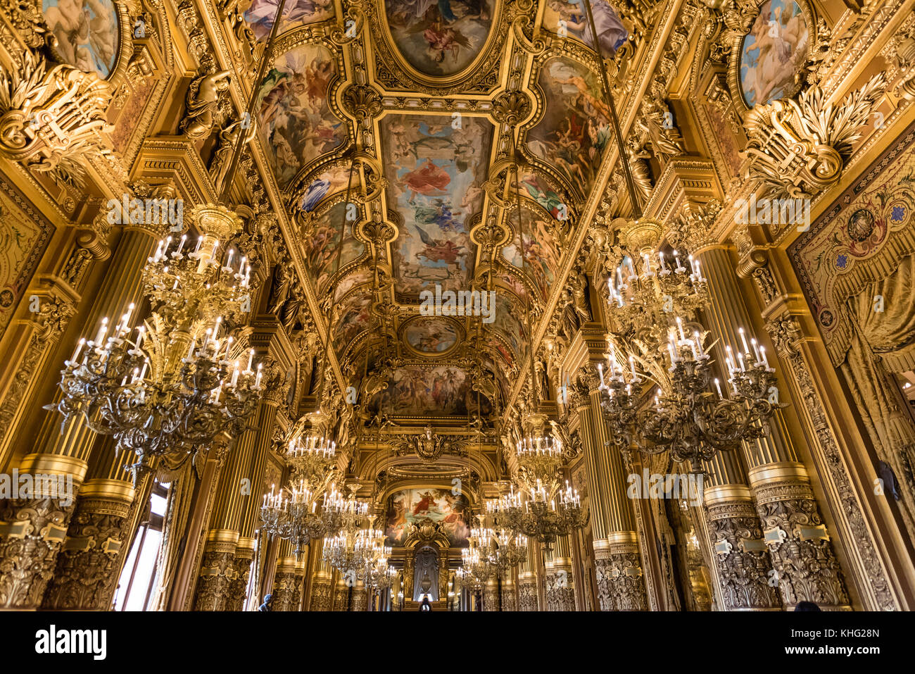 Ornate ceilings of the grand foyer of Palais Garnier, opera of Paris - Stock Image