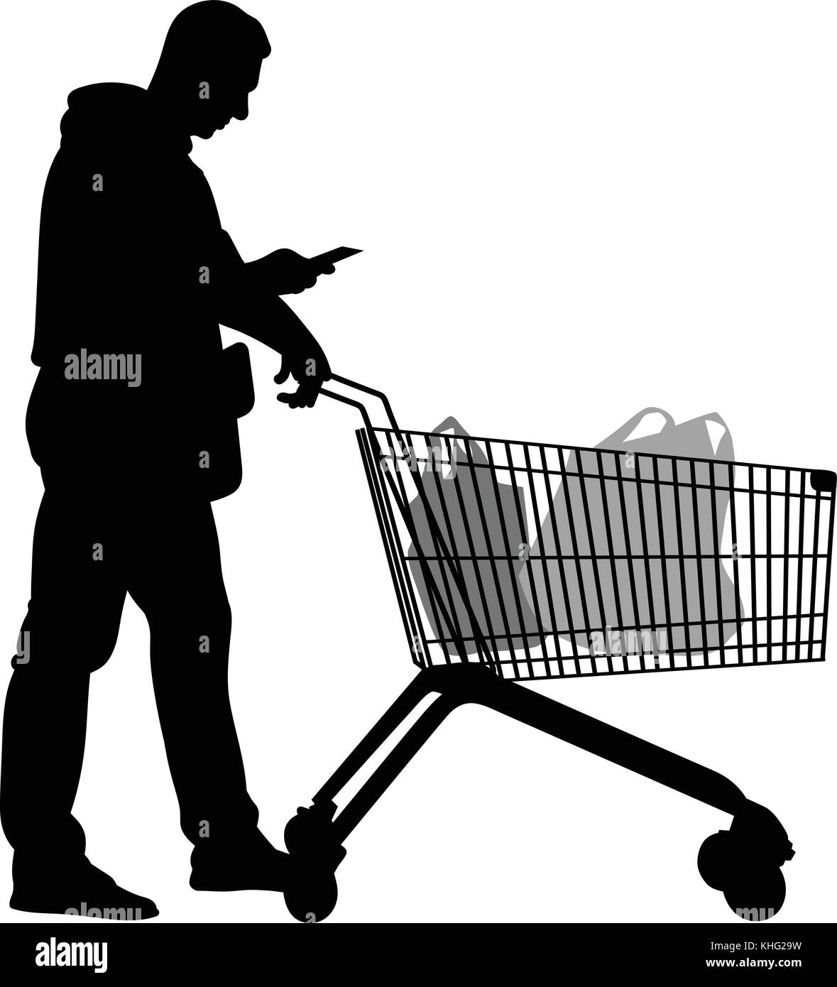 Silhouettes of men with shopping trolleys - vector - Stock Vector