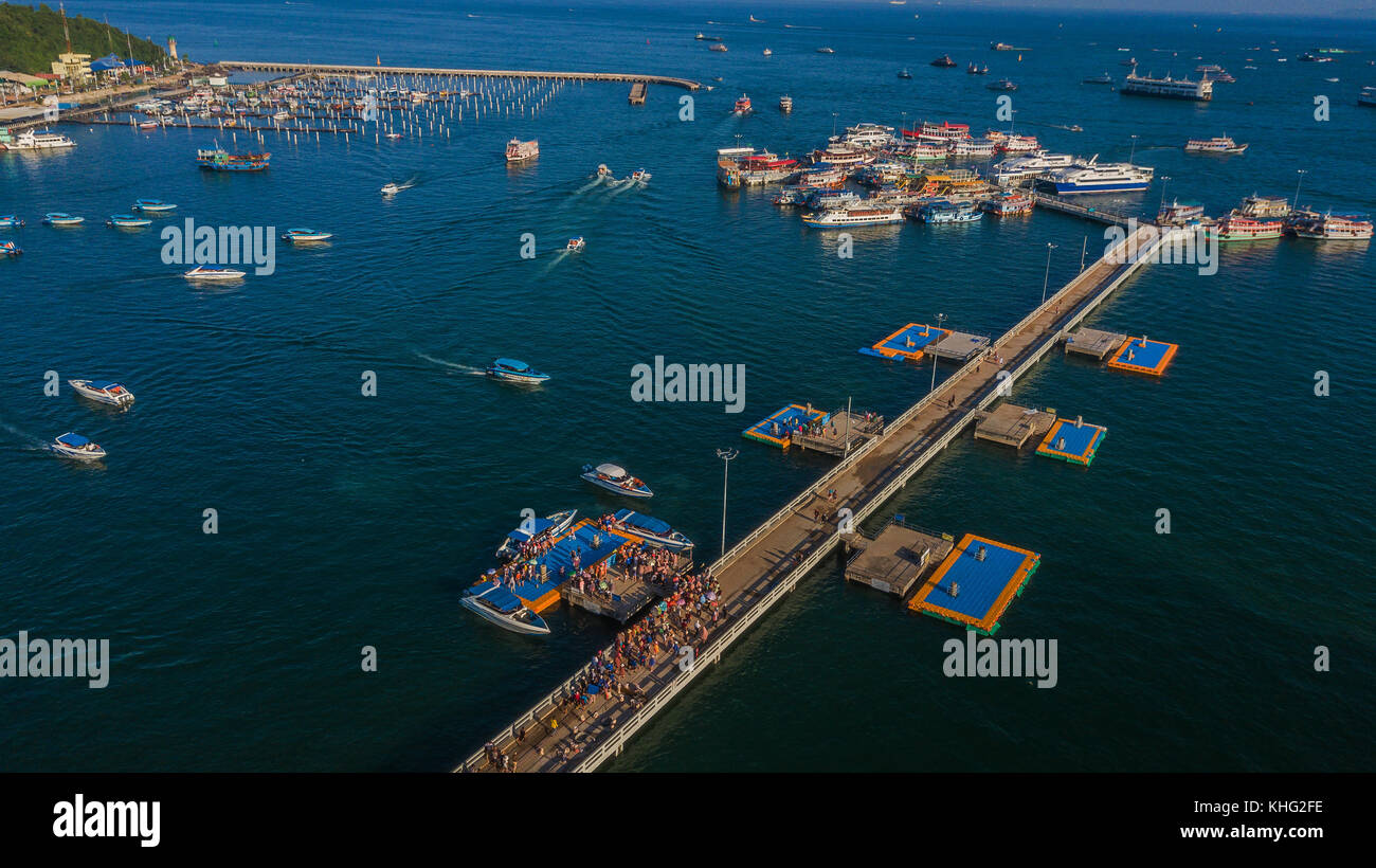 Aerial view of Tour port in Pattaya , Thailand Stock Photo
