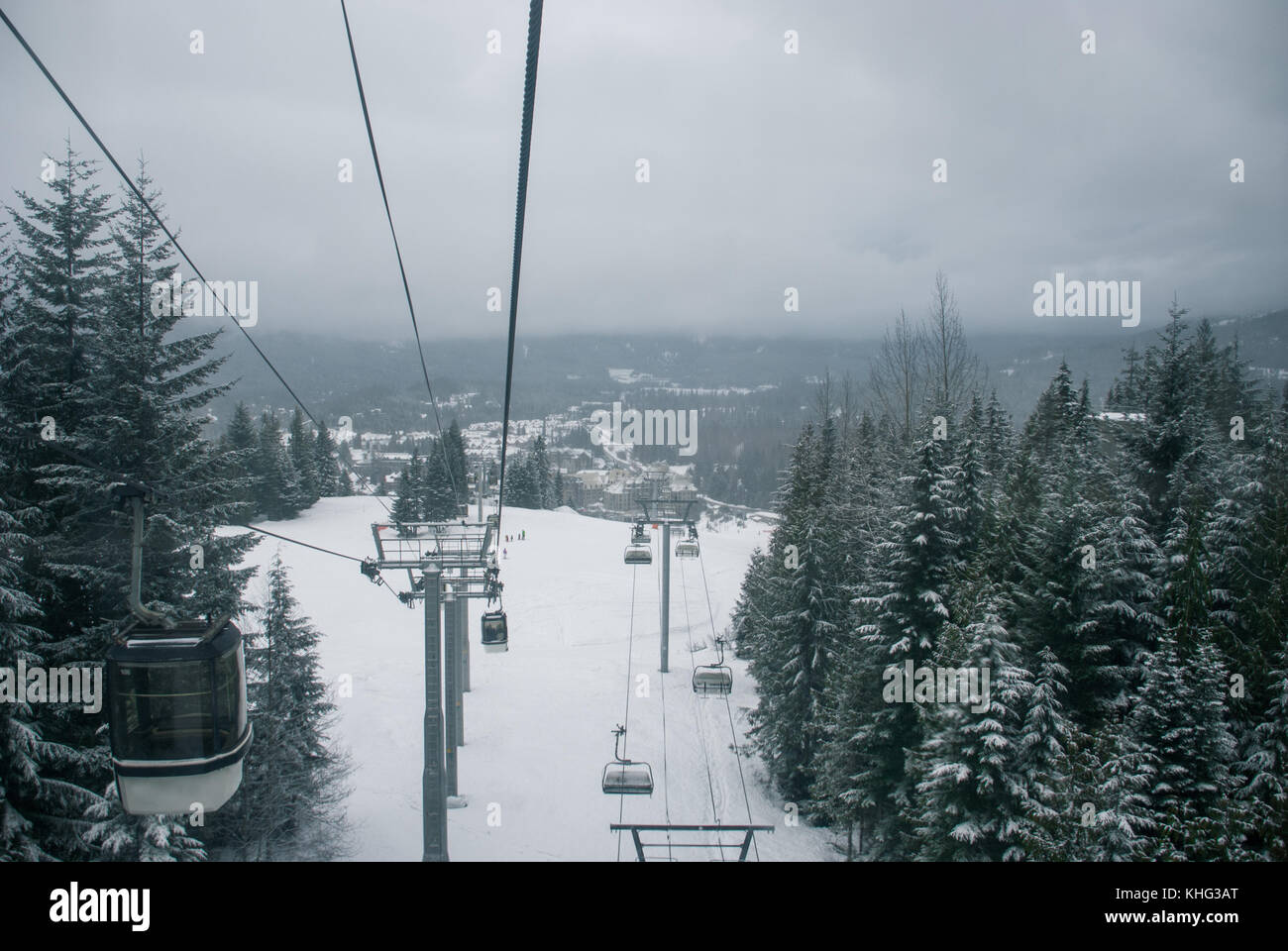 Two seperate chairlifts side by side at Whistler  Canada Stock Photo