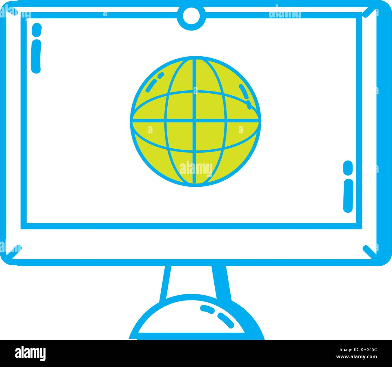 screen electronic equipment with global conection symbol vector ...