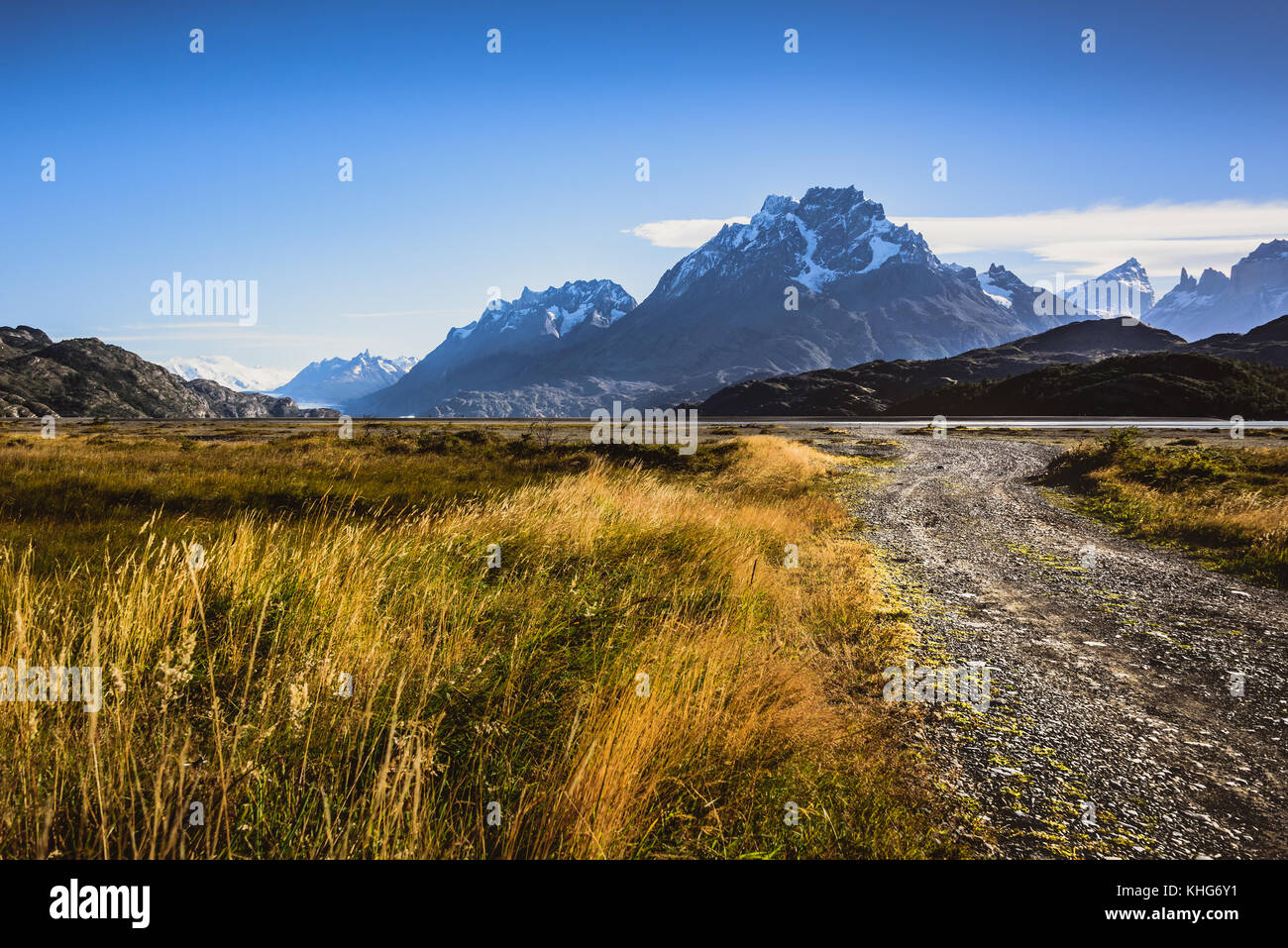 Gravel road to the mountains in Torres Del Paine, chile - Stock Image