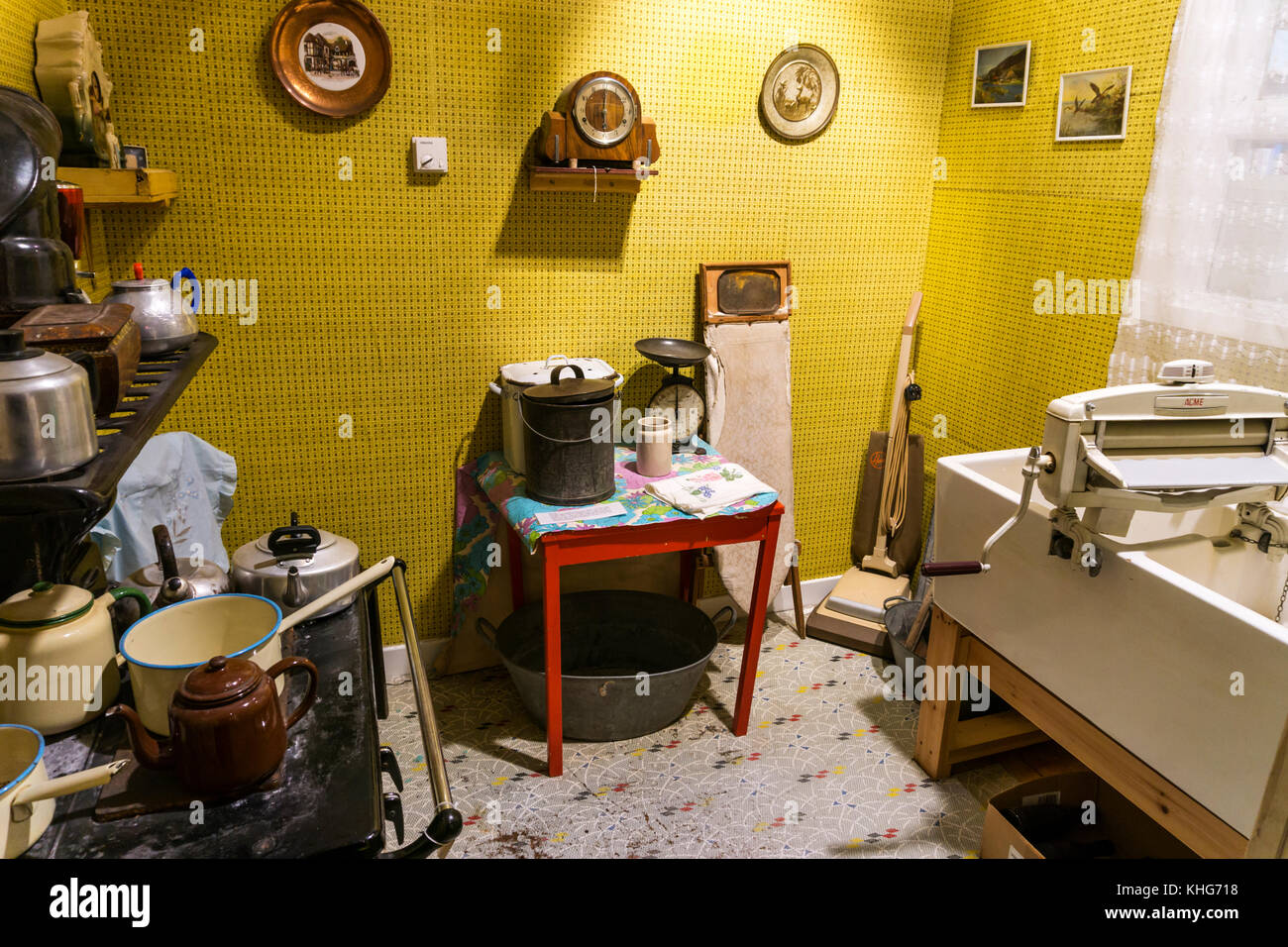 Reconstruction of a room from a croft house in Kildonan Museum, South Uist. - Stock Image
